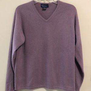 Charter Club Sweater 100% Cashmere V Neck Purple